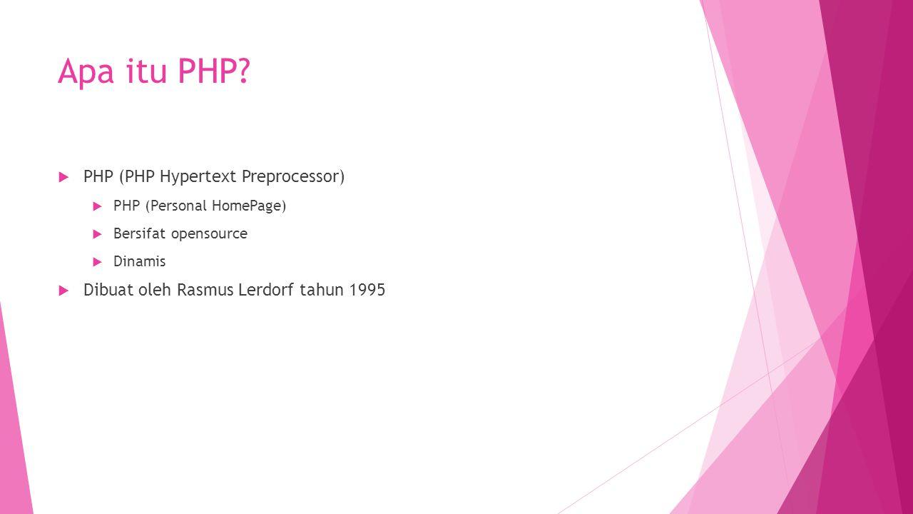 Apa itu PHP PHP (PHP Hypertext Preprocessor)