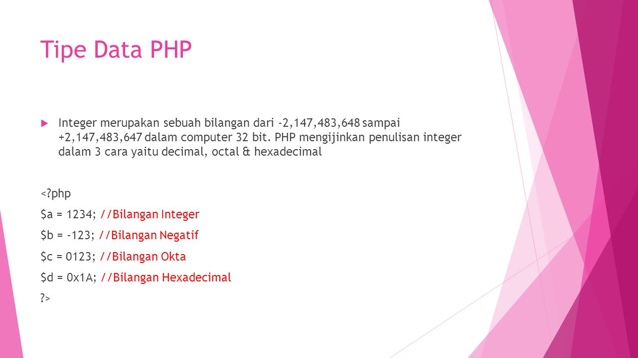 Tipe Data PHP
