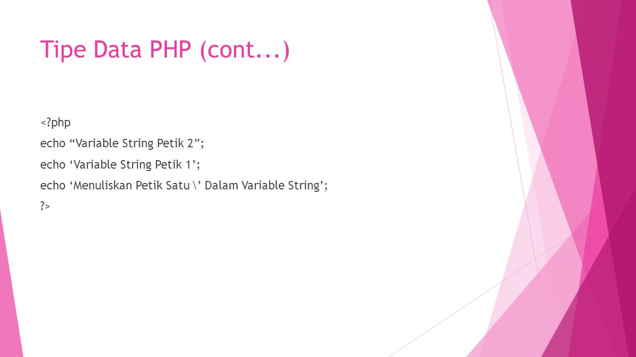 Tipe Data PHP (cont...)