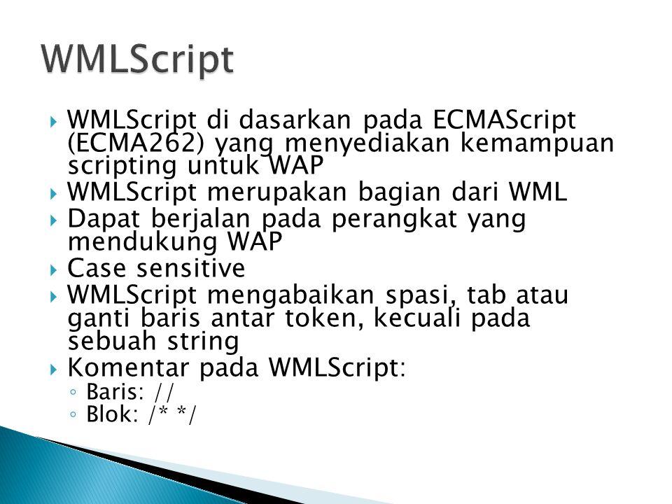 WMLScript WMLScript di dasarkan pada ECMAScript (ECMA262) yang menyediakan kemampuan scripting untuk WAP.