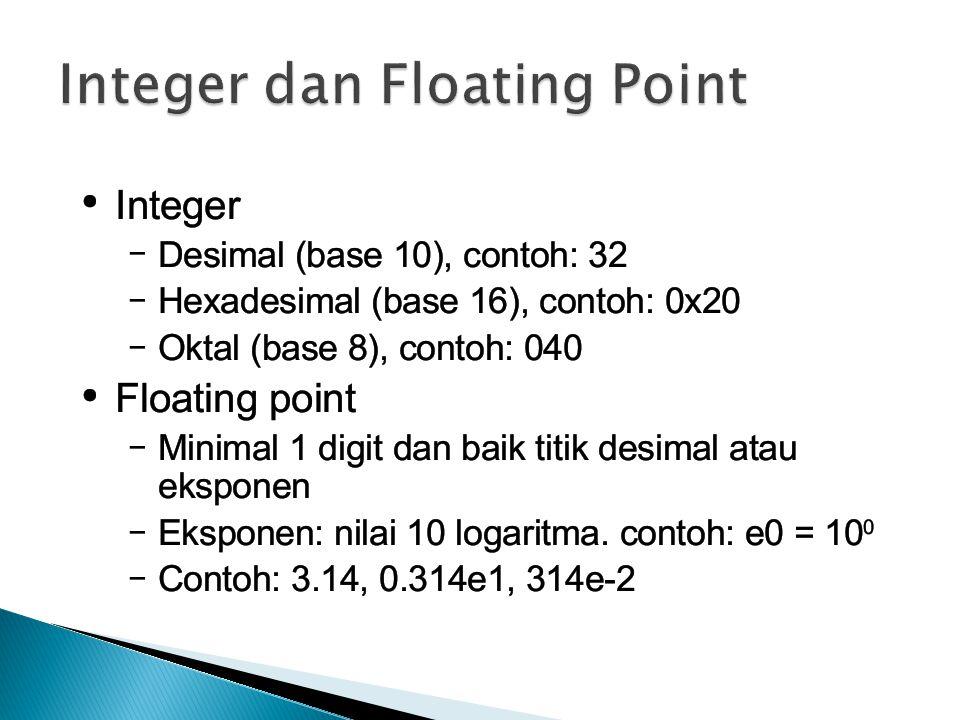 Integer dan Floating Point