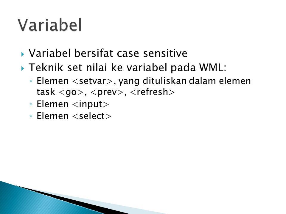 Variabel Variabel bersifat case sensitive