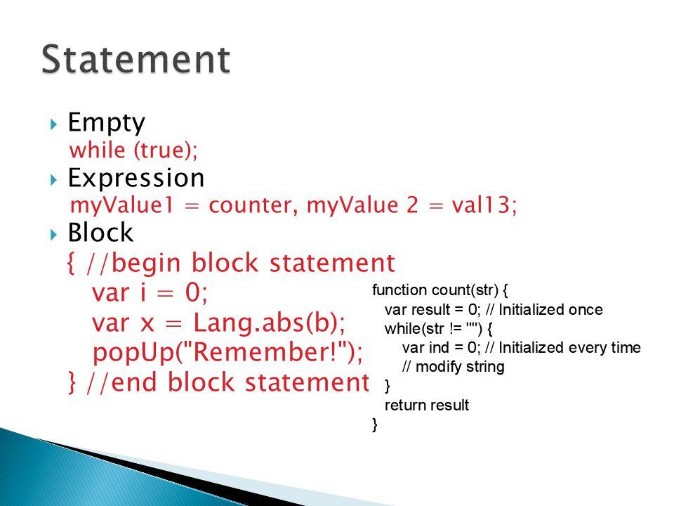 Statement Empty Expression Block { //begin block statement var i = 0;