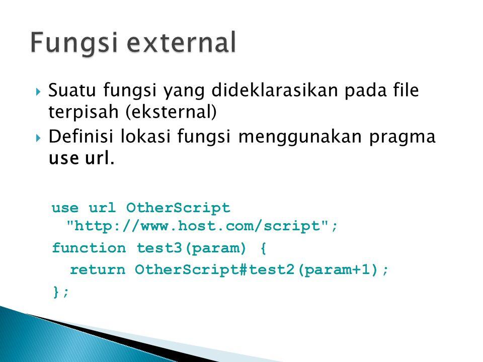 Fungsi external Suatu fungsi yang dideklarasikan pada file terpisah (eksternal) Definisi lokasi fungsi menggunakan pragma use url.
