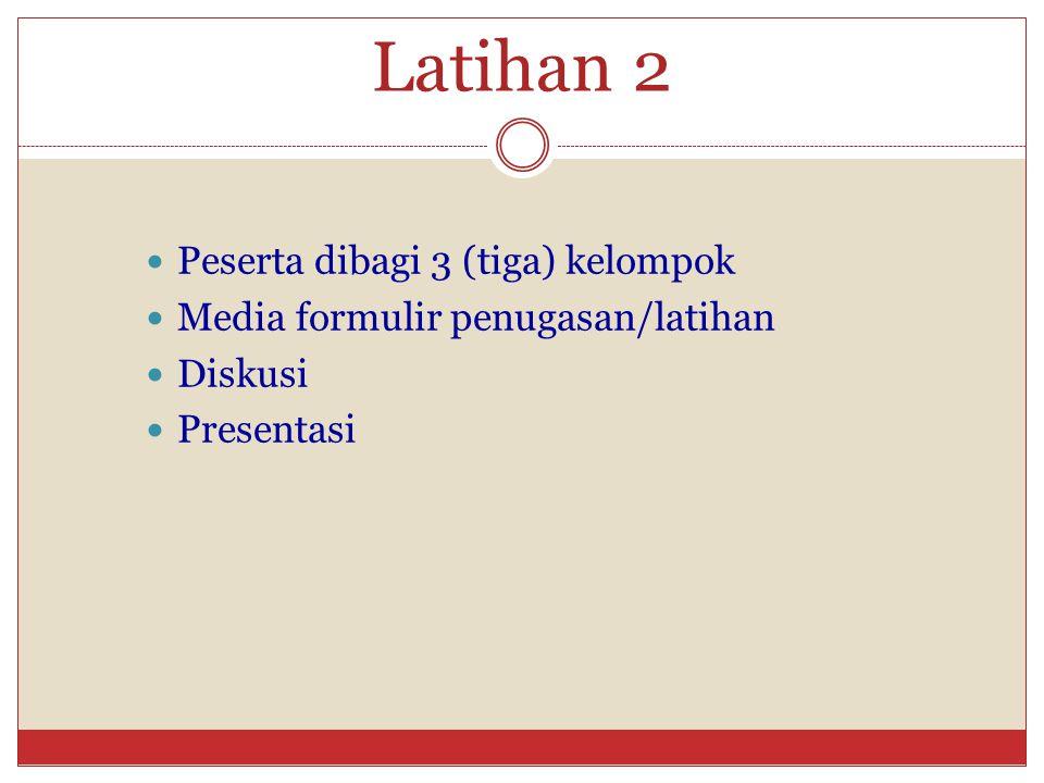 Latihan 2 Peserta dibagi 3 (tiga) kelompok