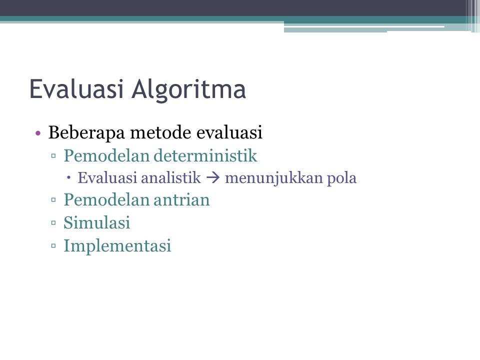 Evaluasi Algoritma Beberapa metode evaluasi Pemodelan deterministik