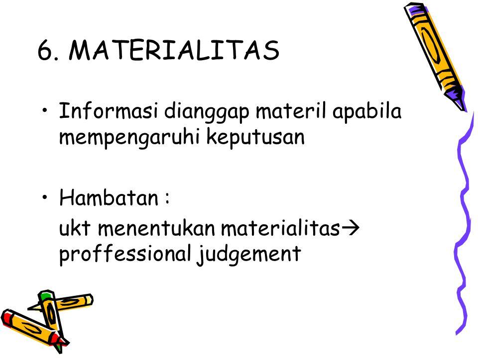 6. MATERIALITAS Informasi dianggap materil apabila mempengaruhi keputusan.