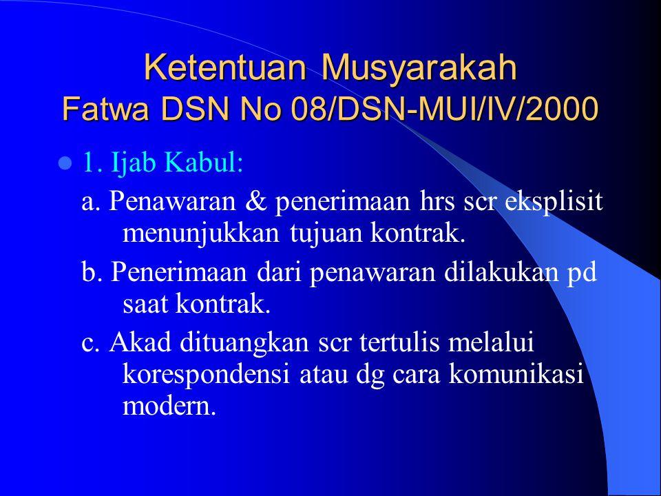 Ketentuan Musyarakah Fatwa DSN No 08/DSN-MUI/IV/2000