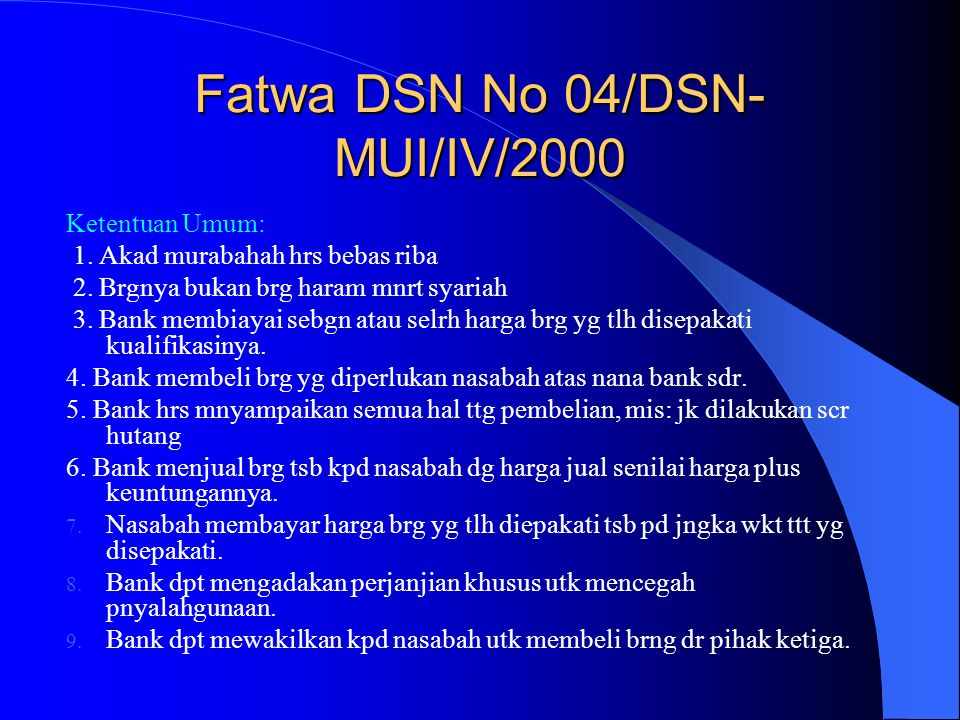 Fatwa DSN No 04/DSN-MUI/IV/2000