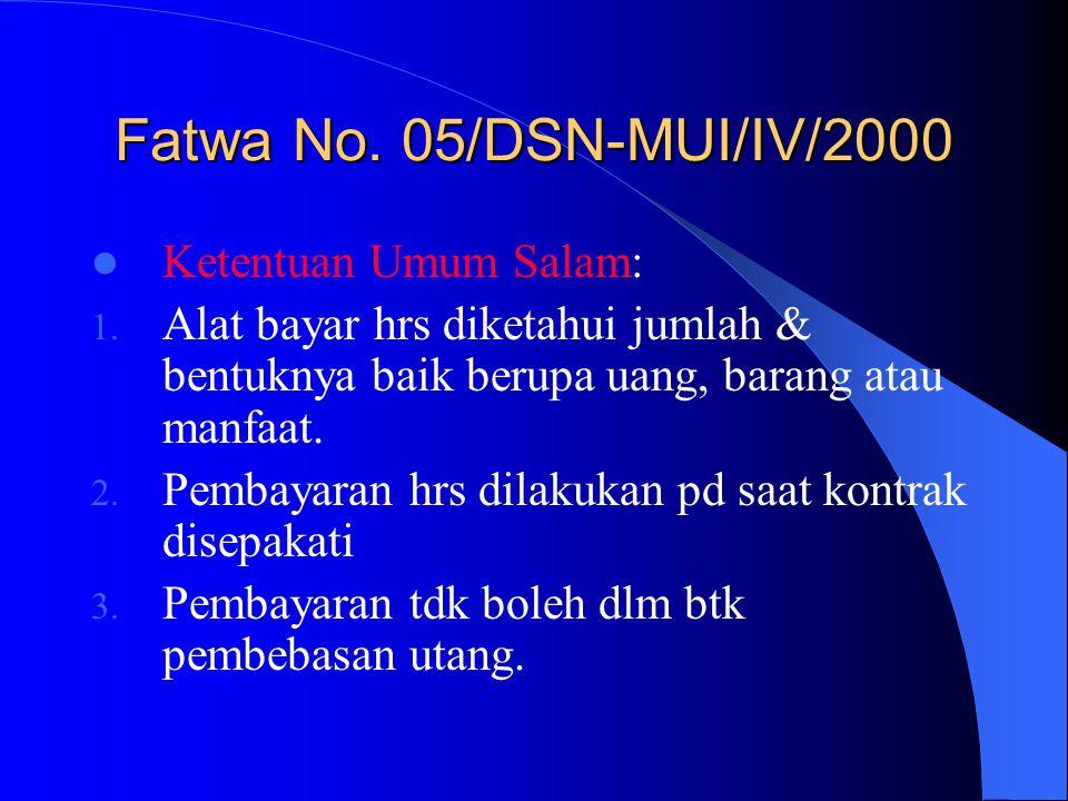 Fatwa No. 05/DSN-MUI/IV/2000 Ketentuan Umum Salam:
