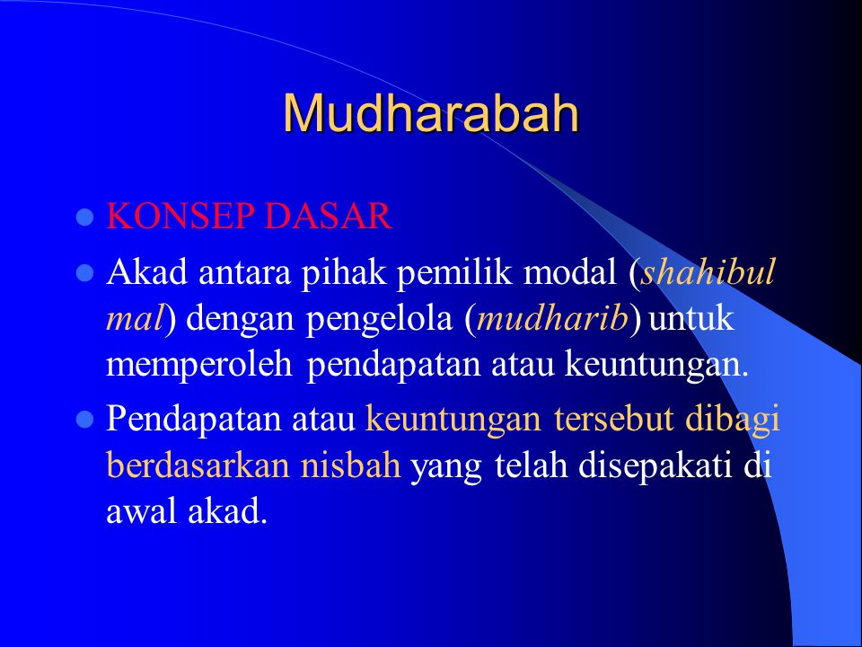 Mudharabah KONSEP DASAR