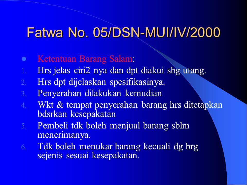 Fatwa No. 05/DSN-MUI/IV/2000 Ketentuan Barang Salam: