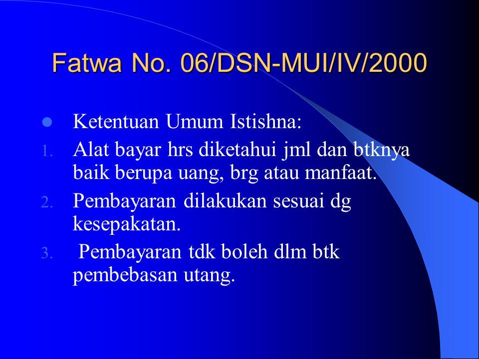 Fatwa No. 06/DSN-MUI/IV/2000 Ketentuan Umum Istishna: