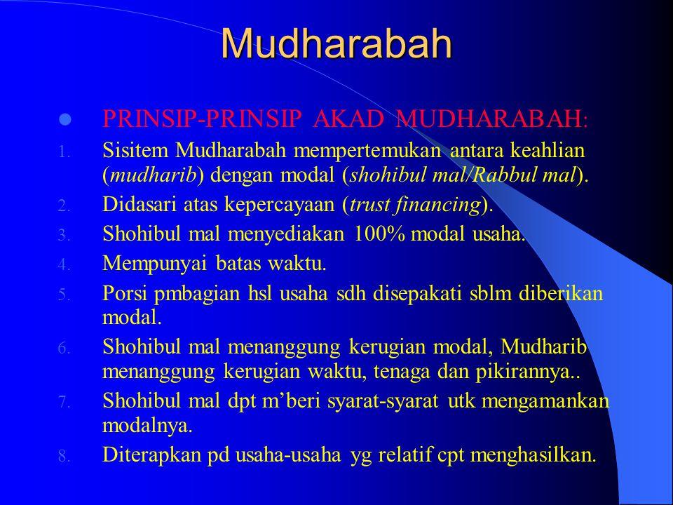 Mudharabah PRINSIP-PRINSIP AKAD MUDHARABAH: