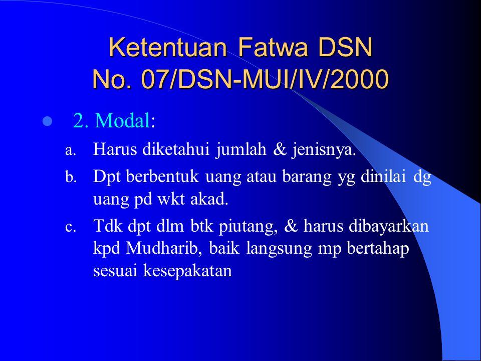 Ketentuan Fatwa DSN No. 07/DSN-MUI/IV/2000