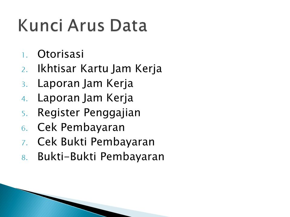 Kunci Arus Data Otorisasi Ikhtisar Kartu Jam Kerja Laporan Jam Kerja