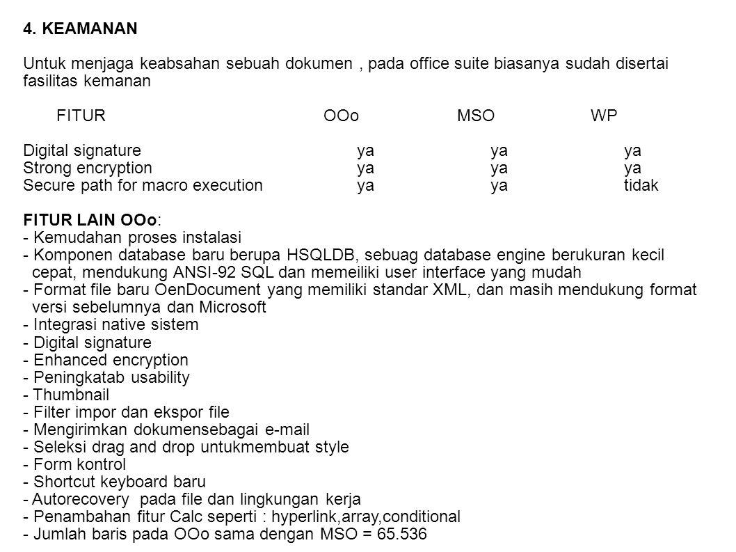 4. KEAMANAN Untuk menjaga keabsahan sebuah dokumen , pada office suite biasanya sudah disertai. fasilitas kemanan.