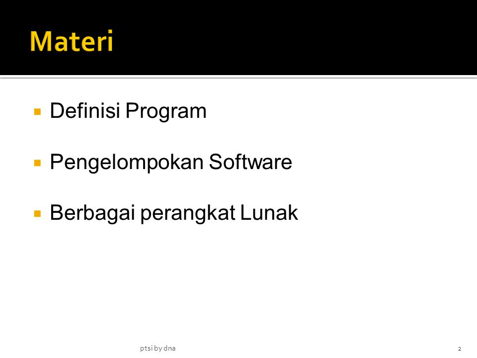 Materi Definisi Program Pengelompokan Software