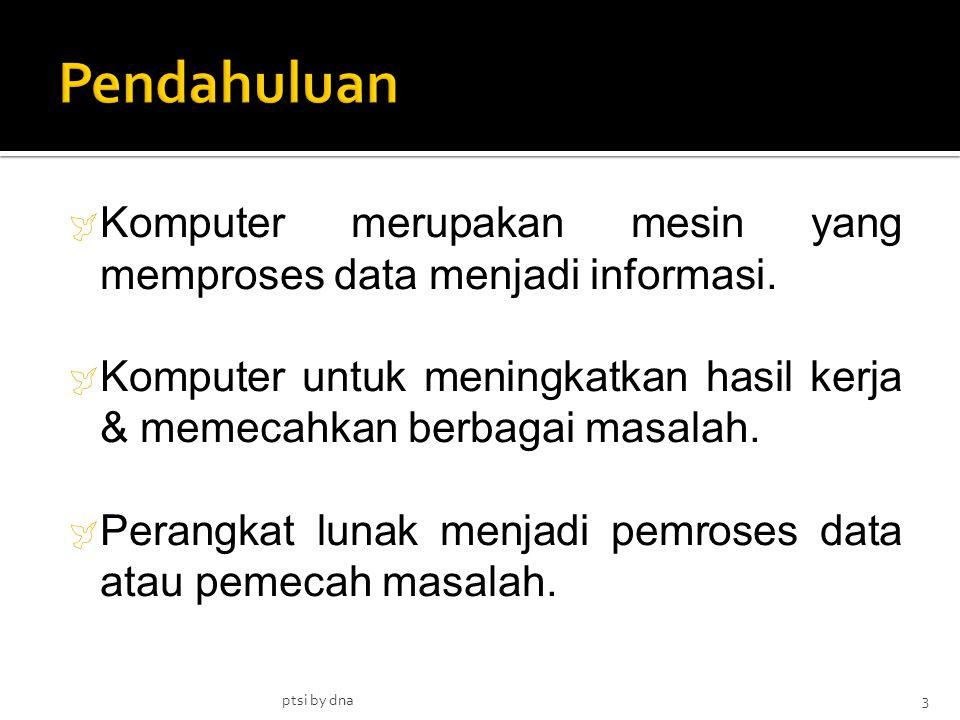 Pendahuluan Komputer merupakan mesin yang memproses data menjadi informasi. Komputer untuk meningkatkan hasil kerja & memecahkan berbagai masalah.