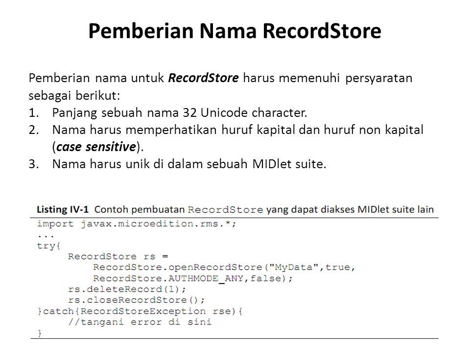 Pemberian Nama RecordStore