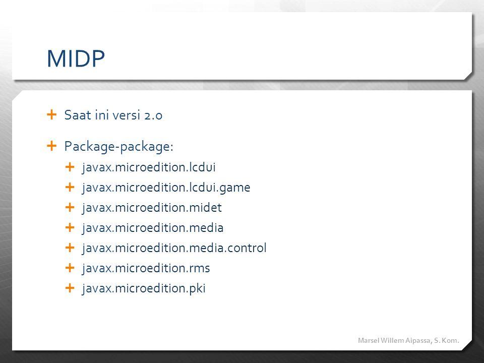 MIDP Saat ini versi 2.0 Package-package: javax.microedition.lcdui
