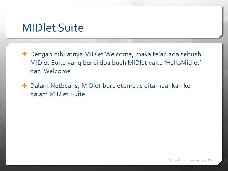 MIDlet Suite Dengan dibuatnya MIDlet Welcome, maka telah ada sebuah MIDlet Suite yang berisi dua buah MIDlet yaitu 'HelloMidlet' dan 'Welcome'