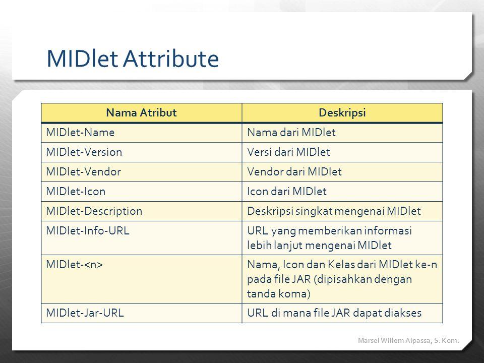 MIDlet Attribute Nama Atribut Deskripsi MIDlet-Name Nama dari MIDlet