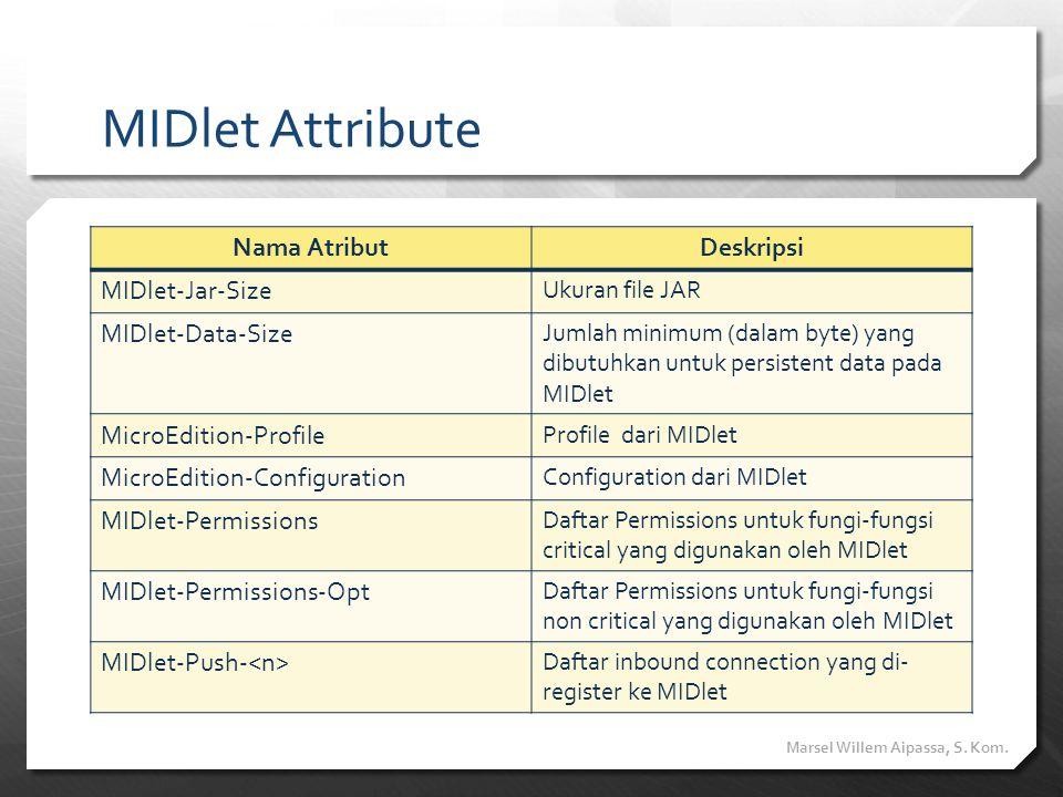 MIDlet Attribute Nama Atribut Deskripsi MIDlet-Jar-Size
