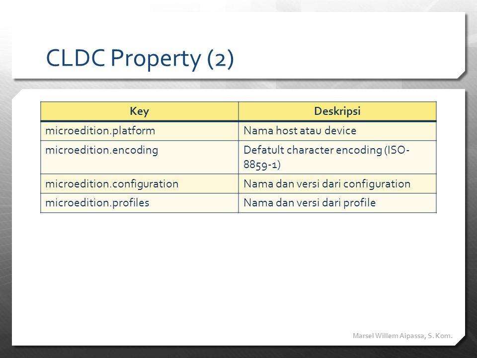 CLDC Property (2) Key Deskripsi microedition.platform