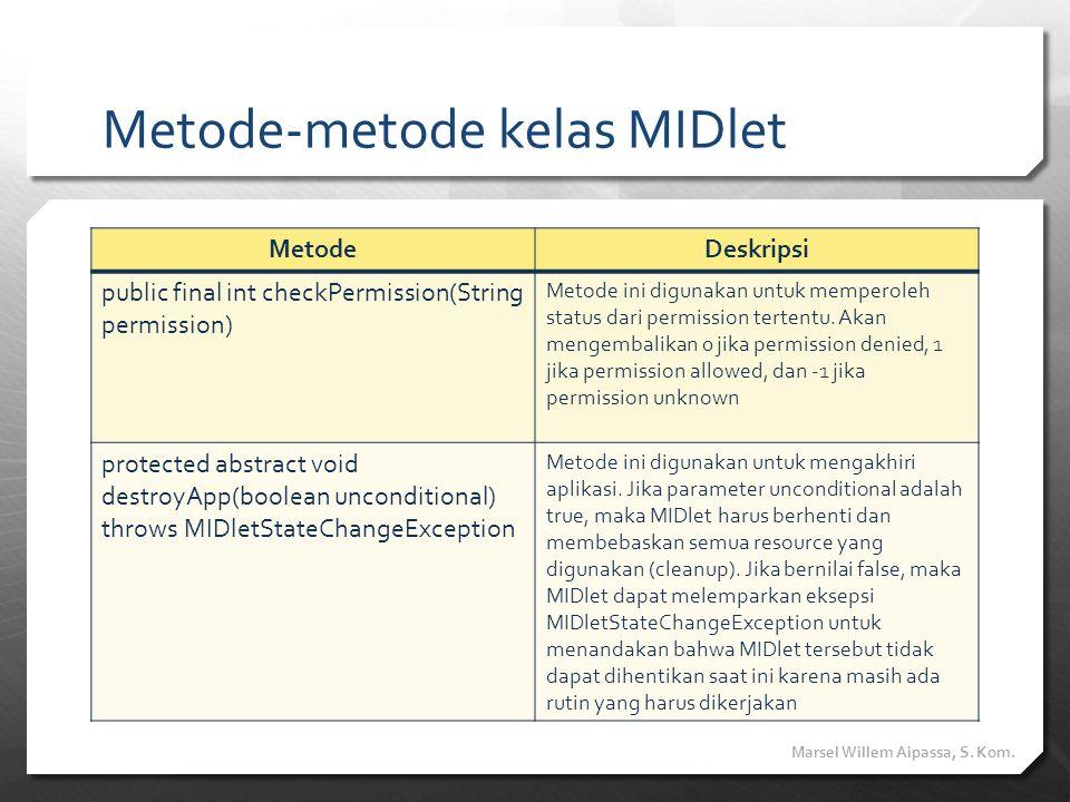 Metode-metode kelas MIDlet