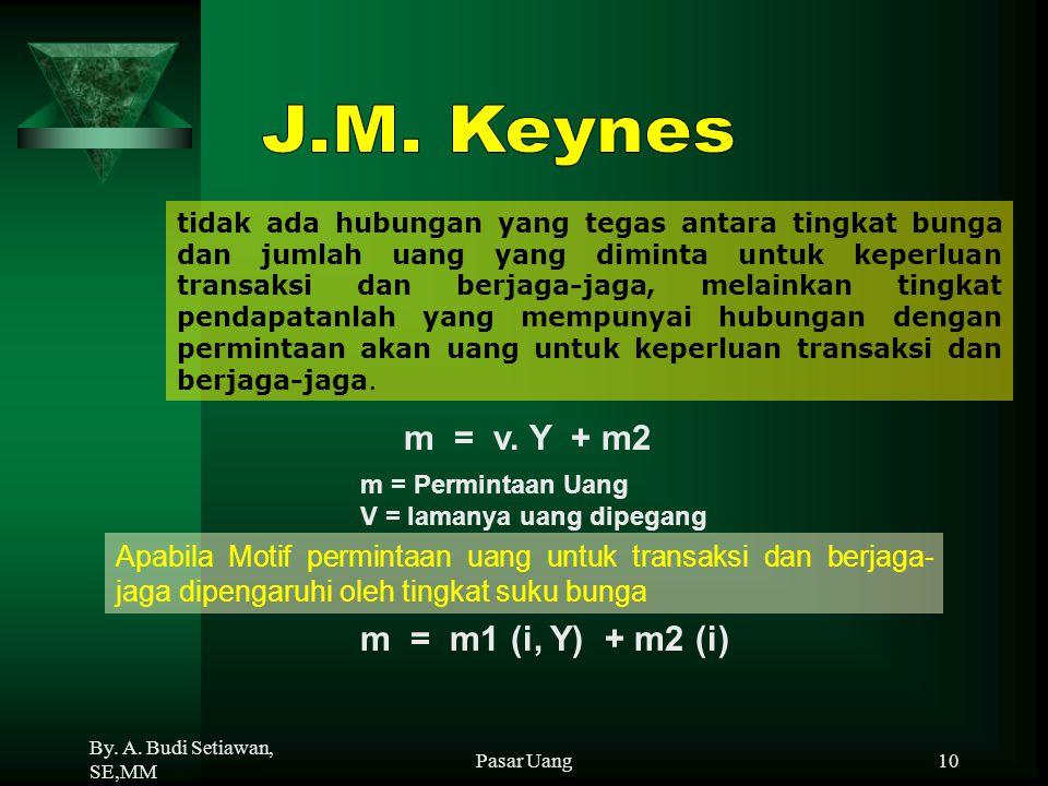 J.M. Keynes m = v. Y + m2 m = m1 (i, Y) + m2 (i)