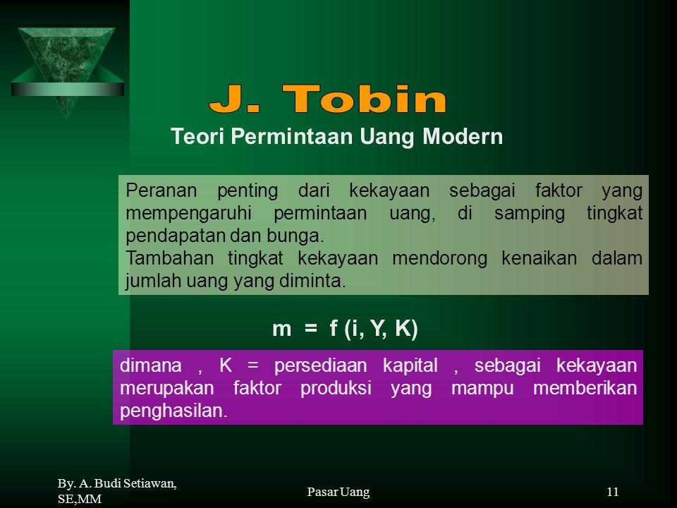 J. Tobin Teori Permintaan Uang Modern m = f (i, Y, K)