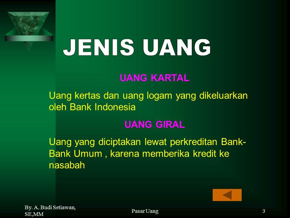 JENIS UANG UANG KARTAL. Uang kertas dan uang logam yang dikeluarkan oleh Bank Indonesia. UANG GIRAL.