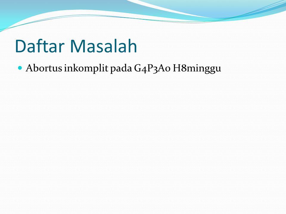 Daftar Masalah Abortus inkomplit pada G4P3A0 H8minggu