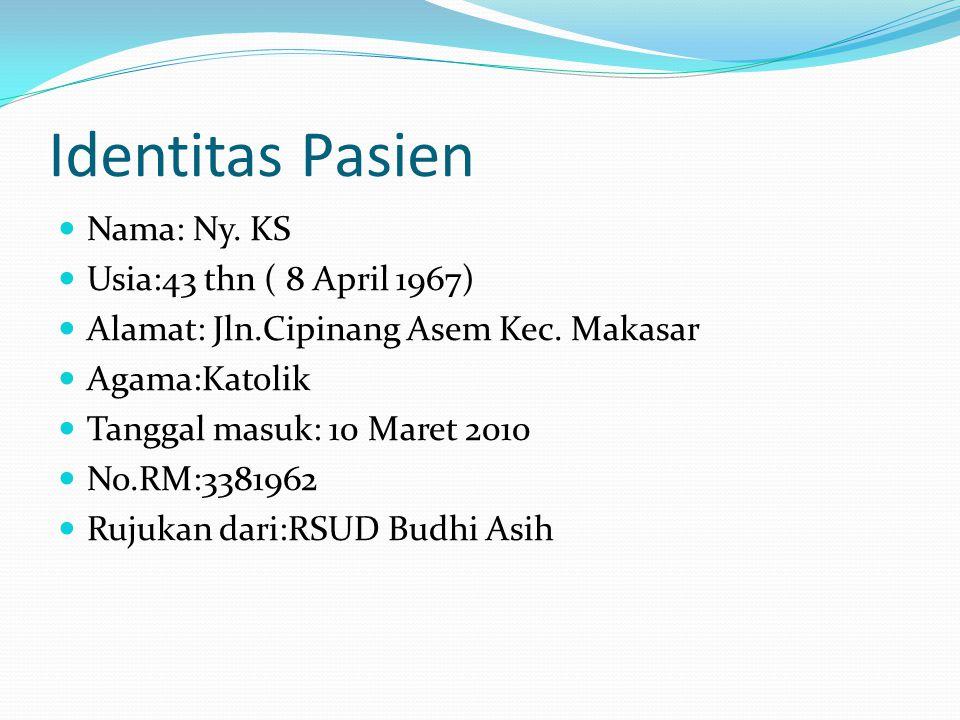 Identitas Pasien Nama: Ny. KS Usia:43 thn ( 8 April 1967)
