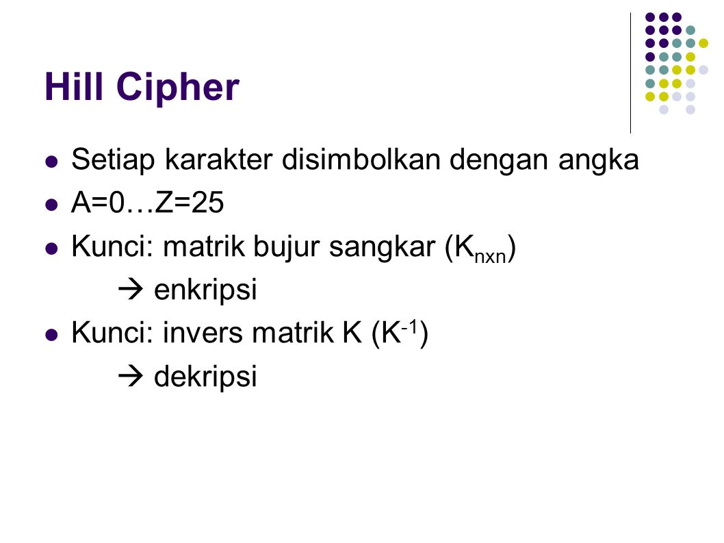 Hill Cipher Setiap karakter disimbolkan dengan angka A=0…Z=25