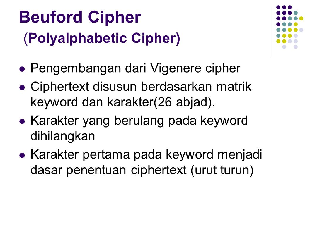Beuford Cipher (Polyalphabetic Cipher)