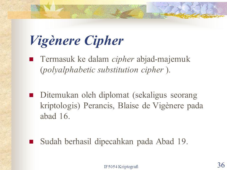 Vigènere Cipher Termasuk ke dalam cipher abjad-majemuk (polyalphabetic substitution cipher ).