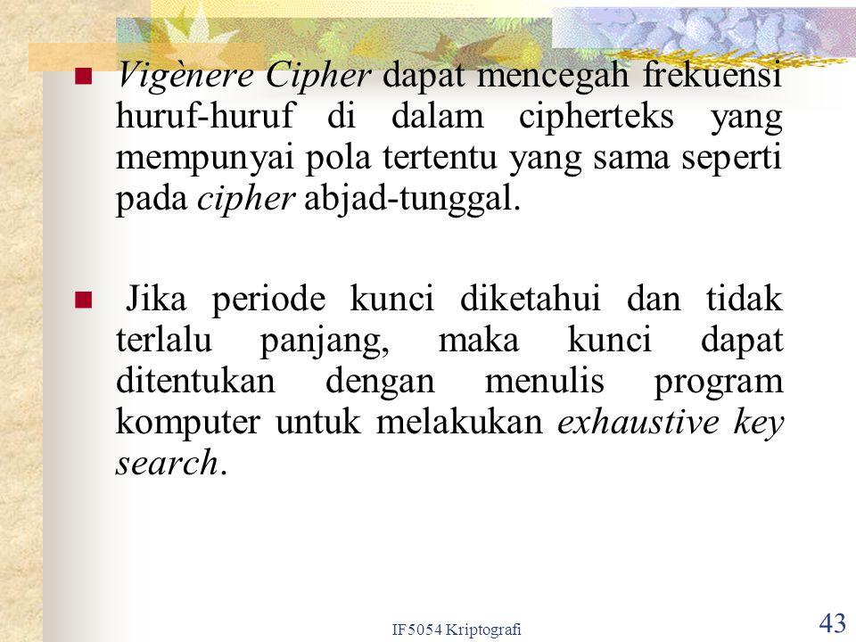 Vigènere Cipher dapat mencegah frekuensi huruf-huruf di dalam cipherteks yang mempunyai pola tertentu yang sama seperti pada cipher abjad-tunggal.