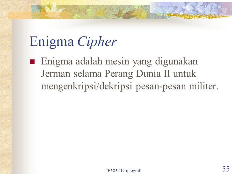 Enigma Cipher Enigma adalah mesin yang digunakan Jerman selama Perang Dunia II untuk mengenkripsi/dekripsi pesan-pesan militer.