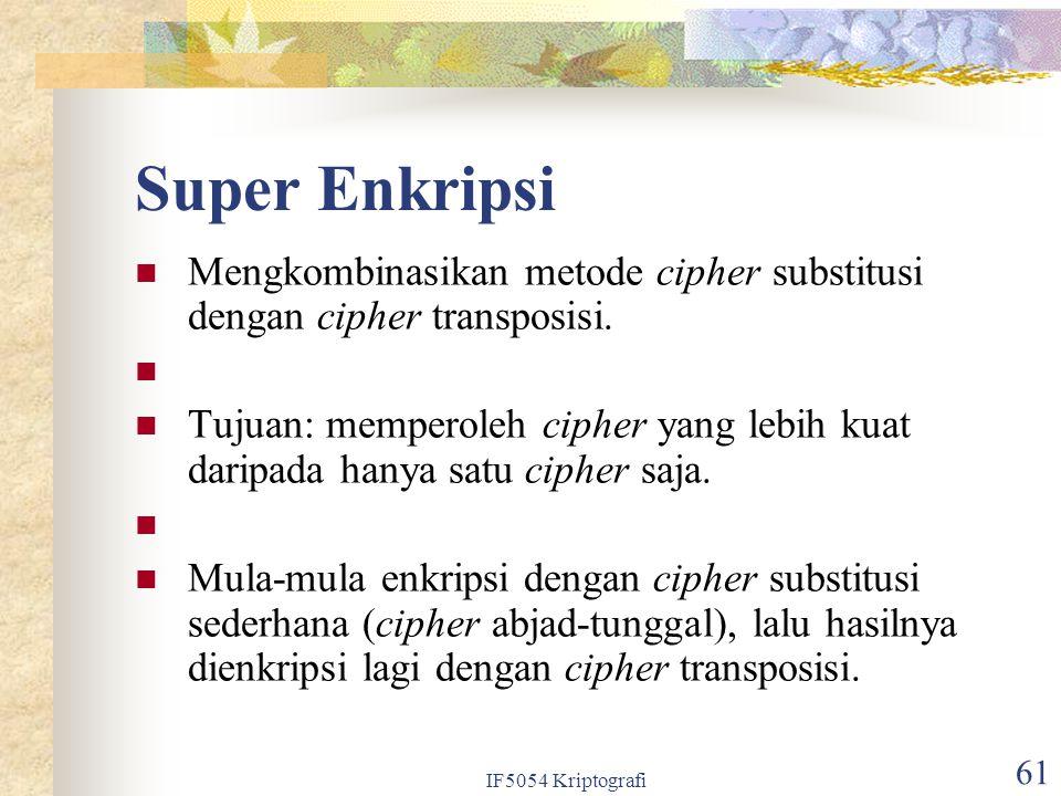 Super Enkripsi Mengkombinasikan metode cipher substitusi dengan cipher transposisi.