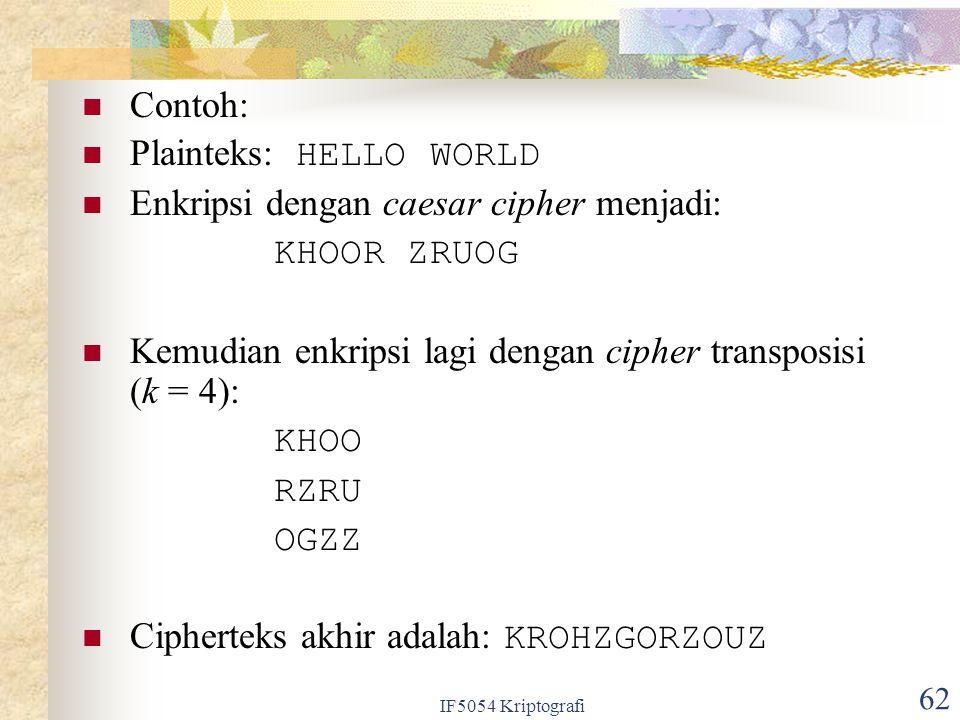 Plainteks: HELLO WORLD Enkripsi dengan caesar cipher menjadi: