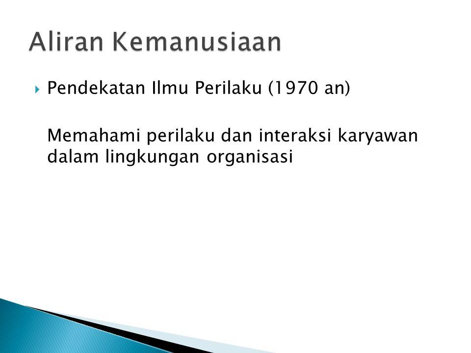 Aliran Kemanusiaan Pendekatan Ilmu Perilaku (1970 an)