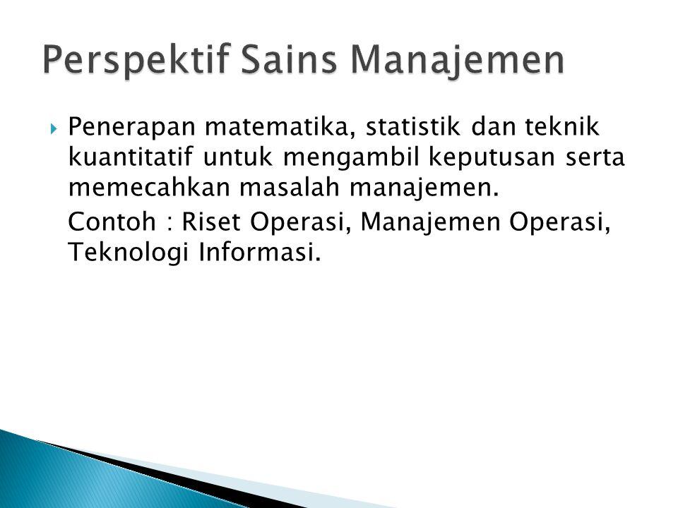 Perspektif Sains Manajemen