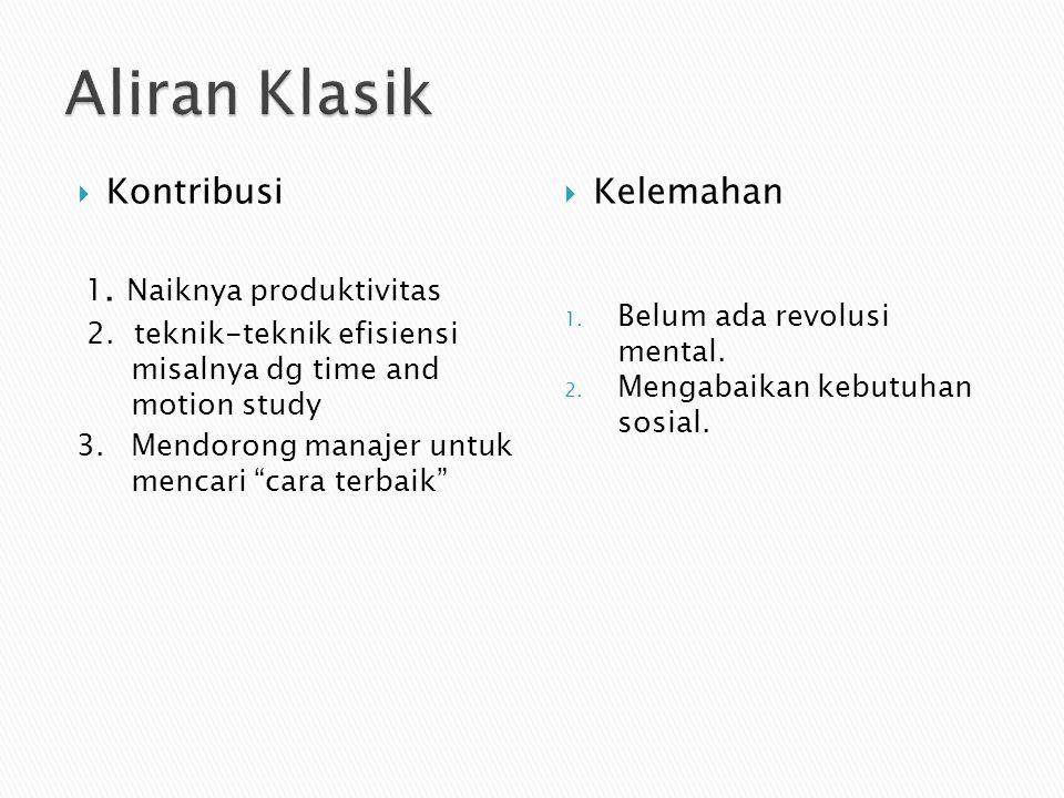 Aliran Klasik Kontribusi 1. Naiknya produktivitas Kelemahan