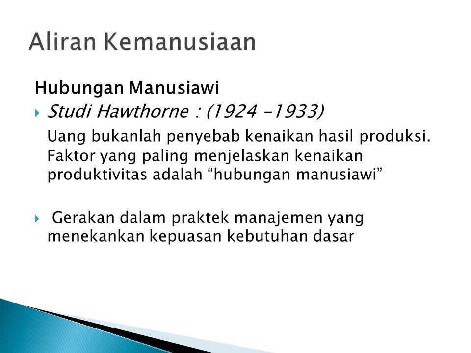 Aliran Kemanusiaan Hubungan Manusiawi Studi Hawthorne : (1924 -1933)