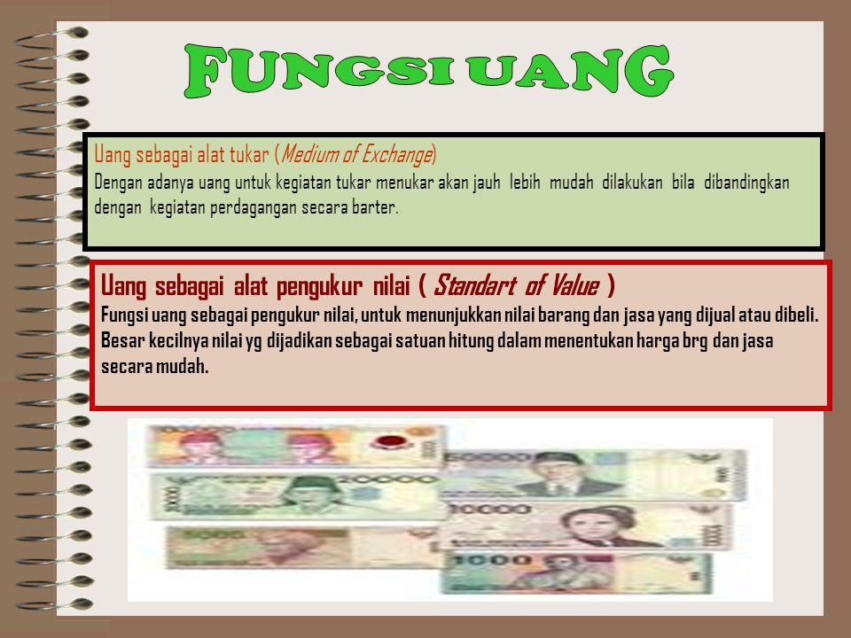 FUNGSI UANG Uang sebagai alat pengukur nilai ( Standart of Value )