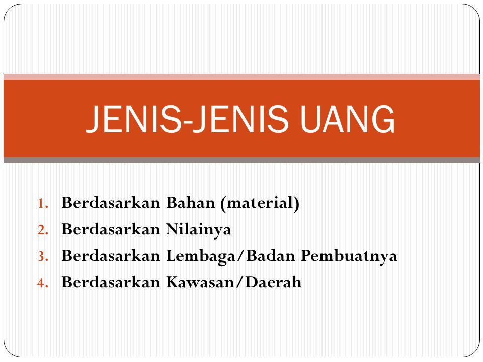 JENIS-JENIS UANG Berdasarkan Bahan (material) Berdasarkan Nilainya