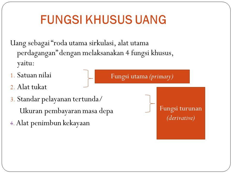 FUNGSI KHUSUS UANG Uang sebagai roda utama sirkulasi, alat utama perdagangan dengan melaksanakan 4 fungsi khusus, yaitu: