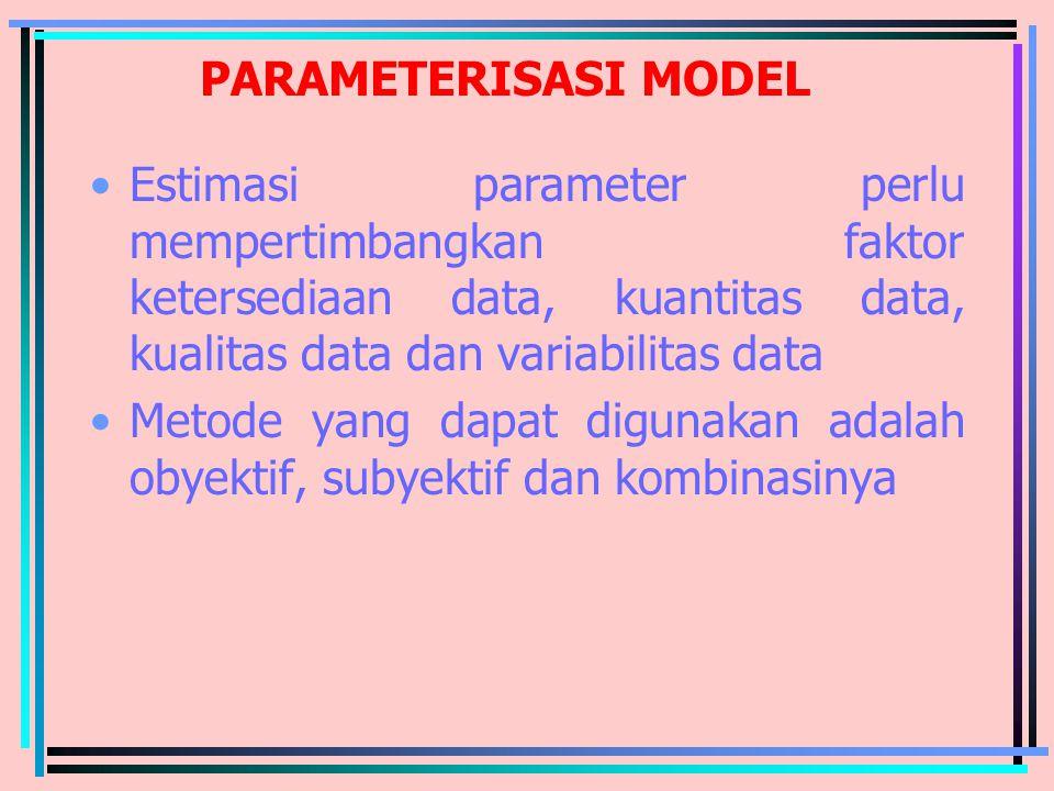 PARAMETERISASI MODEL Estimasi parameter perlu mempertimbangkan faktor ketersediaan data, kuantitas data, kualitas data dan variabilitas data.
